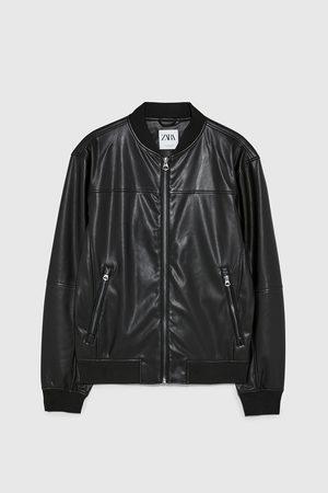 Zara Men Leather Jackets - Faux leather bomber jacket