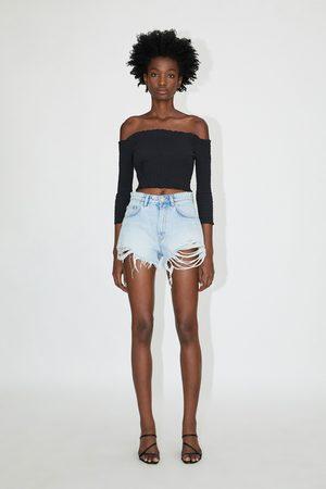 f0086ff0d5 Hi-rise ripped denim shorts