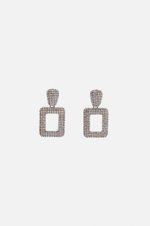 Zara Geometric rhinestone earrings