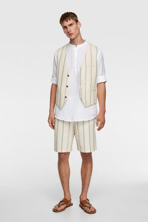 Zara Men Waistcoats - Striped textured waistcoat