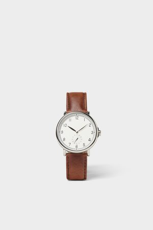Zara Vintage look watch with brown leather strap