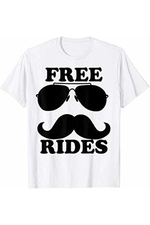 Miftees Free Rides Mustache sunglasses Funny Free Mustache Rides T-Shirt