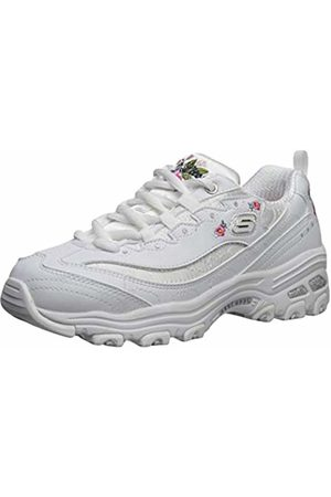 Skechers Girls' D'Lites-Bright Blossoms Trainers, ( Duraleather/Satin/Multi Trim Wht)