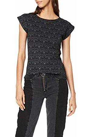 Spiral Direct Women's Gothic Elegance - Scroll Impression Cap Sleeve Top T-Shirt, ( 001)