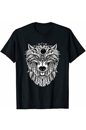 Wolf Totem T-shirt for Wolf Lovers and Wolf Spirit Ink drawing of Wolf Totem T-shirt for Wolf Protection Shirts