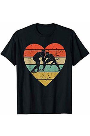 Family Men Women Kids Wrestling Team Gifts Idea Wrestling Vintage Design Retro Wrestler Grappler Heart Sport T-Shirt