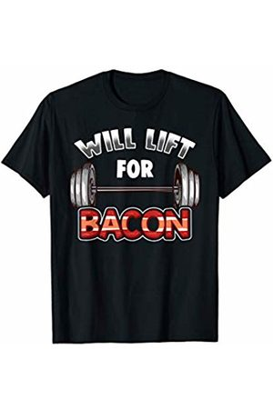 Fitness Fanatic By Pemissa Will Lift For Bacon T-Shirt Bodybuilder Funny Barbell Tee