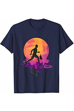 Peace Running Designs Runner Silhouette in front of Colorful Watercolor Sunset T-Shirt
