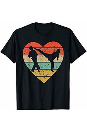 Family Men Women Kids Taekwondo Team Gifts Idea Taekwondo Vintage Design | Retro Fighter Heart Sport Fan T-Shirt