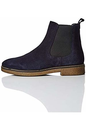 FIND Leather Gumsole Chelsea Boots, Navy)