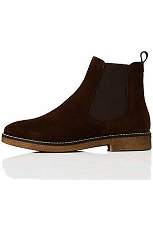 FIND Women Boots - Leather Gumsole Chelsea Boots, Chocolate)