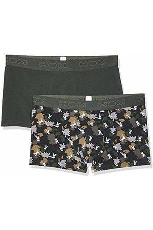 Hom Men's Dog #2 Boxer Briefs 2p Shorts, (Lot De 2: Kaki + Imprimé Camouflage Avec Chien Blanc D019)