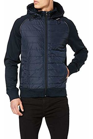 Tommy Hilfiger Men's Mixed Media Hooded Zip Through Sweatshirt, Sky Captain 903