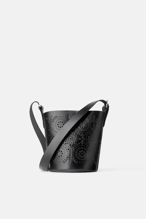 Zara Die-cut leather bucket crossbody bag