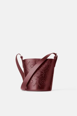 Zara Women Shoulder Bags - Die-cut leather bucket crossbody bag