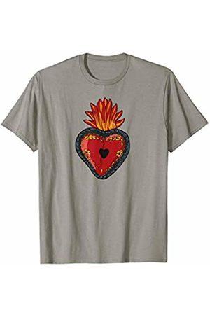 Jimmo Designs Flaming Sacred Heart Mexican Folk Art Devotion Symbol T-Shirt