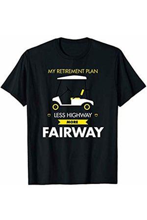 Retirement Golfing Gifts Retirement Plan Less Highway More Fairway Golf Cart Design T-Shirt