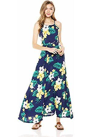 28 Palms Tropical Hawaiian Print Halter Maxi Dress Casual, Navy Floral