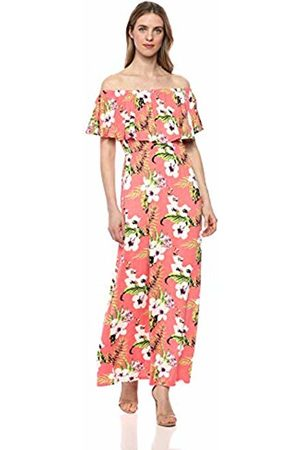28 Palms Tropical Hawaiian Print Off Shoulder Maxi Dress Casual