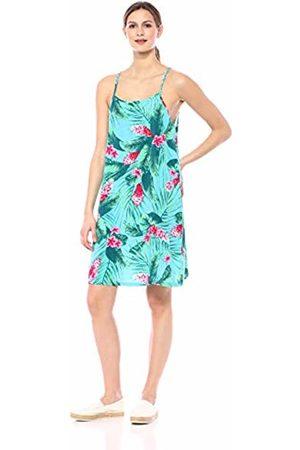 28 Palms Tropical Hawaiian Print Halter Shift Dress Casual, Aqua/ Ginger