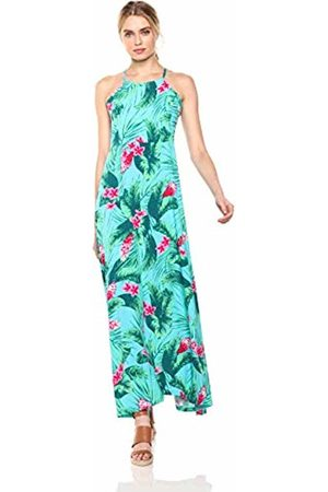 28 Palms Tropical Hawaiian Print Halter Maxi Dress Casual, Aqua/ Ginger