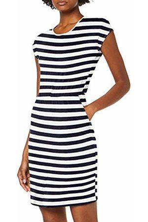 Only Women's Onlbali S/S Deep Back Dress JRS (Cloud Dancer Stripes:Night Sky)