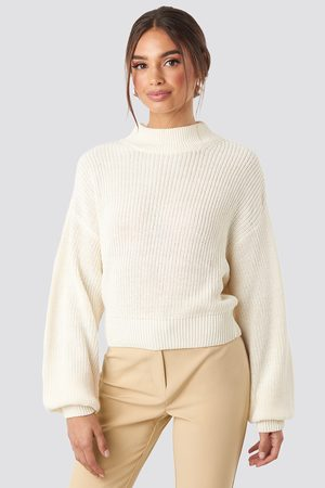 NA-KD Volume Sleeve High Neck Knitted Sweater - White