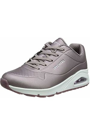 Skechers Women's UNO-Rose Bold Trainers, (Pewter Duraleather Pew)