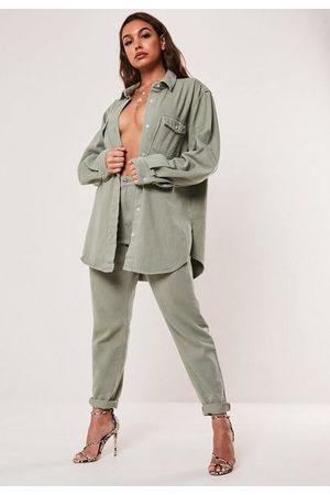 Missguided Women Boyfriend - Khaki Co Ord High Rise Denim Mom Jeans
