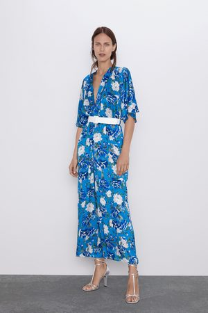 Zara Floral print jumpsuit with tie belt