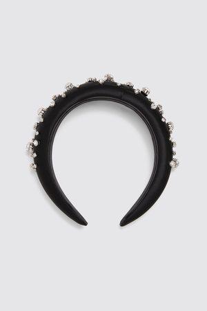 Zara Bejewelled satin headband