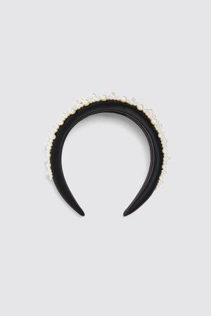 Zara Satin headband with pearl beads
