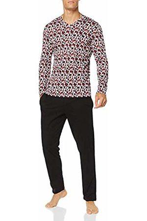 Hom Men's Tiles Long Sleepwear Pyjama Set, (Haut: Imprimé Géométrique Rouge, Gris, Blanc. Bas: Noir 00pa)