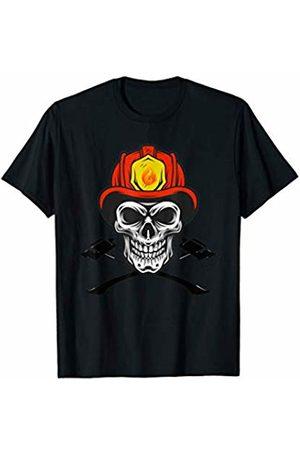 Funny Vintage Skeleton Skull Halloween Gift Firefighter axe Costmume Halloween Fireman Skull Helmet Axes T-Shirt