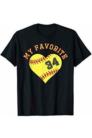 Softball Player My Favorite Star Fan Shirt Gifts Softball Player 34 Jersey Outfit No #34 Sports Fan Gift T-Shirt