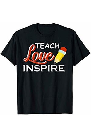 Hadley Designs Teach Love Inspire Back to School First Day Teachers Cute T-Shirt