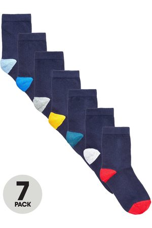 Very Boys Socks - 7 Pack Contrast Colour Heel And Toe Socks
