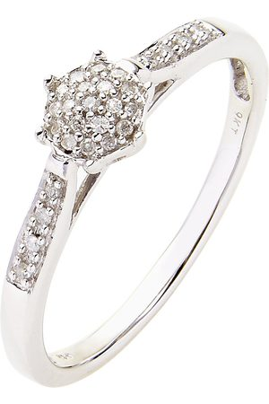 Love Diamond 9 Carat 10 Point Diamond Cluster Ring With Diamond Set Shoulders