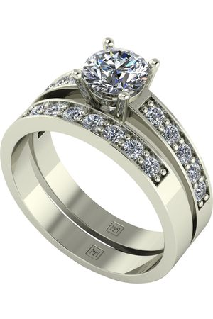 Moissanite Lady Lynsey 9Ct Gold 1.20Ct Total Round Brilliant Centre Bridal Set