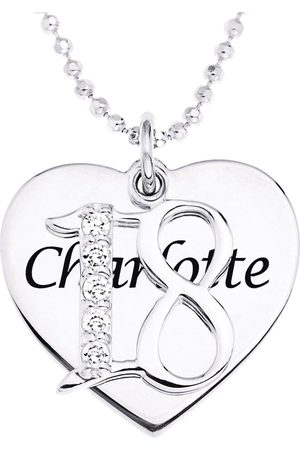 The Love Silver Collection Personalised Sterling Coming Of Age Cubic Zirconia Set Pendant