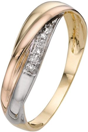 Love GOLD 9 Carat 3 Colour 1Pt Diamond Set Ladies Commitment Band