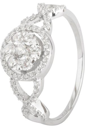 The Love Silver Collection Sterling Silver Cubic Zirconia Cluster Ornate Ring