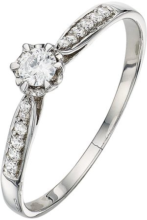 Love Diamond 9 Carat 20 Points Diamond Solitaire Ring With Diamond Shoulders
