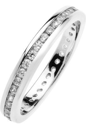 The Love Silver Collection Rhodium-Plated Sterling Channel Set Eternity Cubic Zirconia Ring