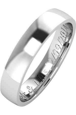 The Love Silver Collection Personalised Argentium Wedding Band 4Mm