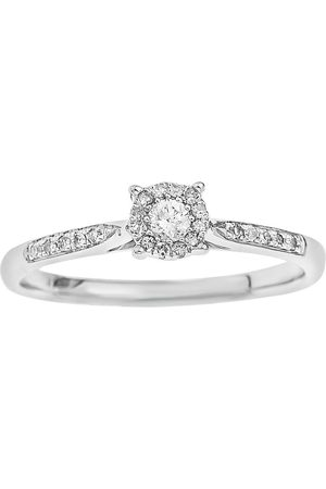 Love Diamond 9-Carat 20-Point Diamond Centre Cluster Ring With Diamond-Set Shoulders