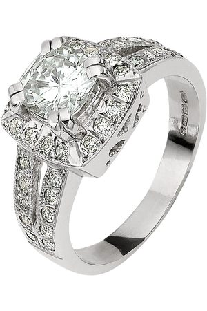 Moissanite 18 Carat 185 Points Cushion Set Ring With Stone Set Shoulders