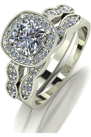 Moissanite 9Ct Gold 1.75Ct Equivalent Total Cushion Cut Ring Set