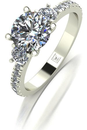 Moissanite Women Rings - Lady Lynsey 9Ct Gold 1.50Ct Total Round Brilliant Trilogy Ring With Stone Set Shoulders