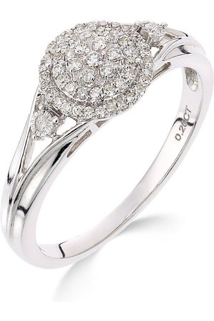 Love Diamond 9Ct White Gold 18 Point Diamond Cluster Ring